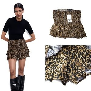 Zara NWT Leopard Bermuda Skort Skirt Shorts XL